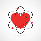 Atom with kernel in heart shape in flat design. Vector illustration. Symbol of the molecule or atom, isolated.