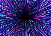 Abstract background of colored radial lines. Effects of acceleration, speed, motion and depth. Bright vector template