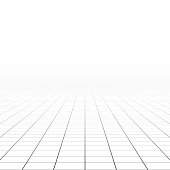 Abstract rectangle background - perspective tiled floor. Vector illustration.