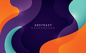 Abstract style wavy background design in color. Vector illustration.