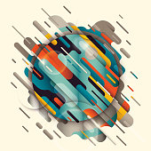 Abstract background in various colors made of rounded geometric shapes. Modern composition. Vector illustration.