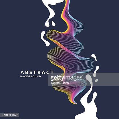 Abstract background with a dynamic waves, linesn and splashes in a bright colorful style : stock vector
