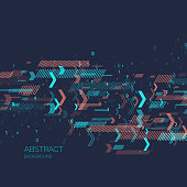 Abstract background with binary code and geometric shapes. Analysis and data transfer. Vector illustration