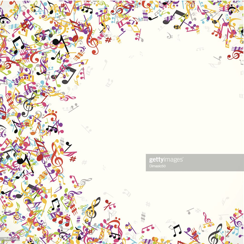 Abstract background with colorful musical notes