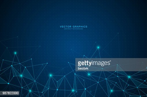 Abstract background with connected lines and dots : Vector Art