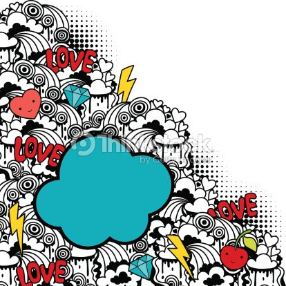 Abstract background with cute kawaii doodles vector art for Cute abstract art