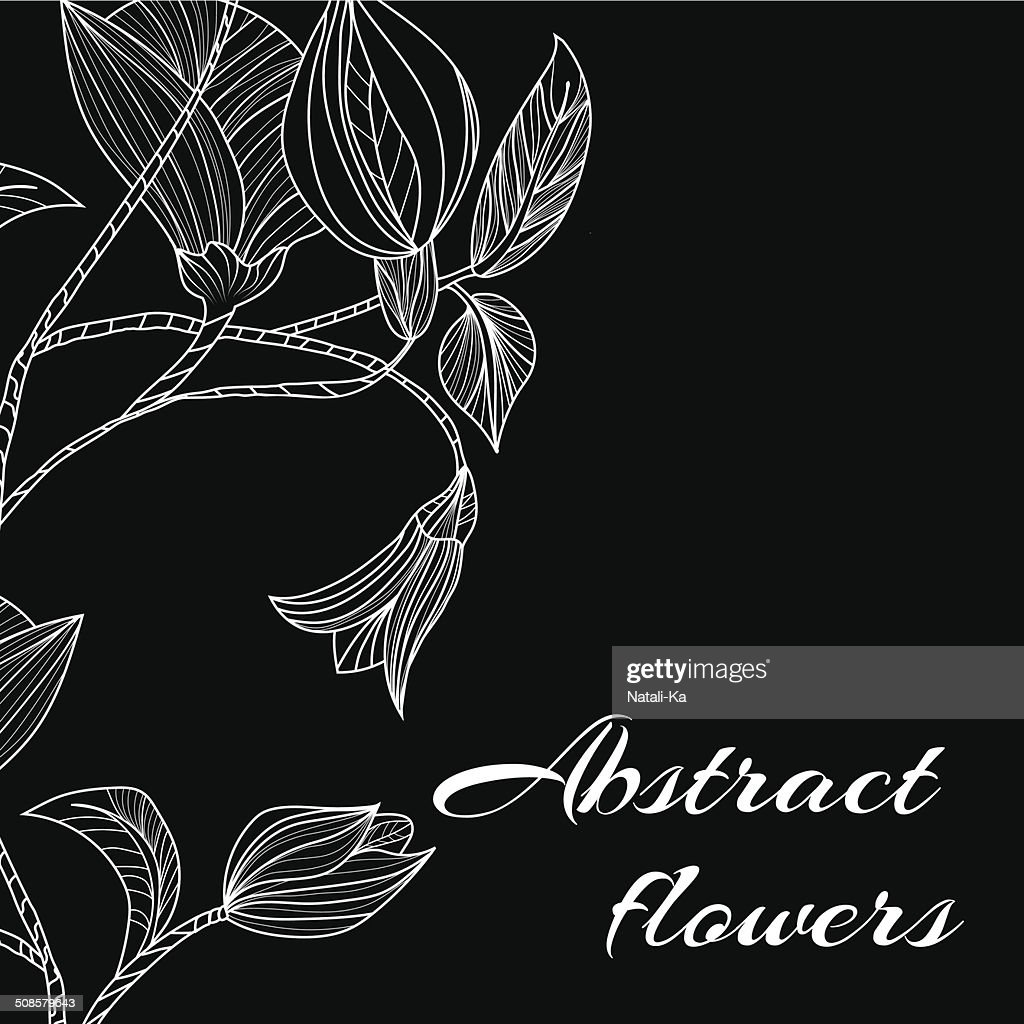 Abstract background with flowers in black and white style : Vectorkunst