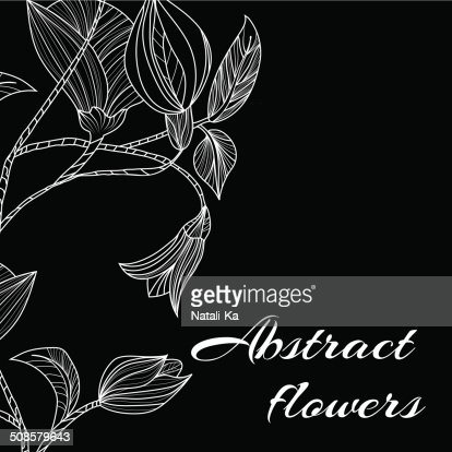 Abstract background with flowers in black and white style : Vector Art