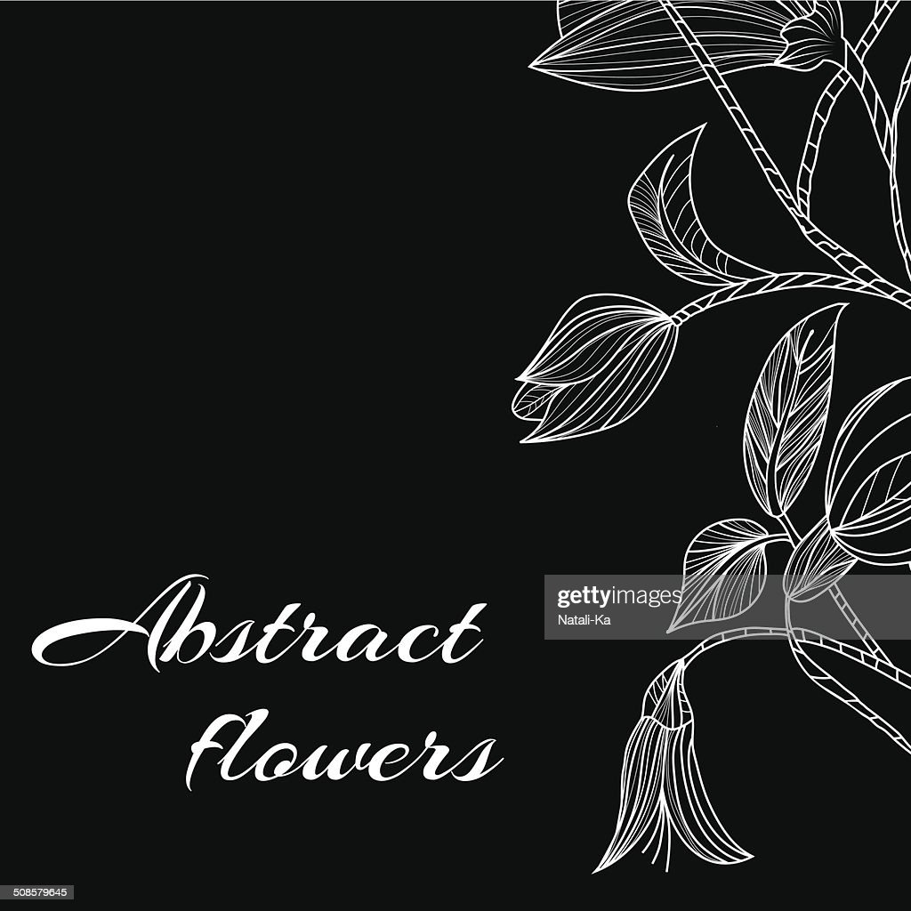 Abstract background with flowers in black and white style : Vektorgrafik
