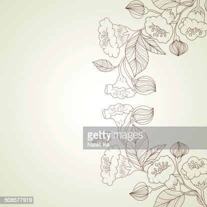 Abstract background with flowers in vintage style : Vectorkunst