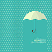 Abstract background with  umbrella and rain. protection and safety concept. falling drop