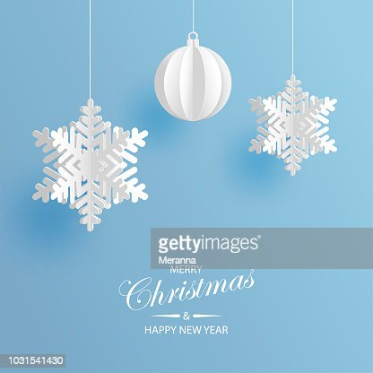 Abstract background with volumetric paper snowflakes and christmas ball. White 3D snowflakes and decorations. Xmas and new year card template. Winter paper art design : stock vector