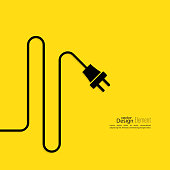 Abstract background with wire and plug. Concept connection, disconnection, electricity. Flat design. Yellow, black