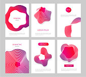 Set of abstract backgrounds with generative design forms. Minimalistic style.