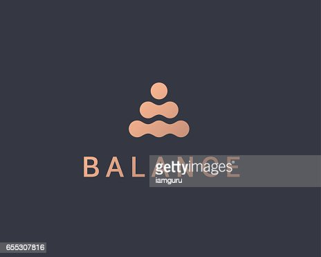 Abstract balance vector logo design template. Spa harmony minimal logotype. : stock vector
