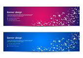 Abstract banner design, dna molecule structure background. Geometric graphics and connected lines with dots. Scientific and technological concept, vector illustration