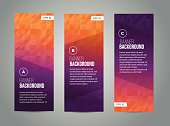 Abstract banner design, gradient triangle style. Vector
