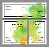Abstract banner design template. Vector watercolor painting background