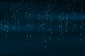 Abstract binary code background. Falling, streaming binary code background. Digital technology wallpaper. Cyber data, decryption and encryption. Hacker background concept. Vector
