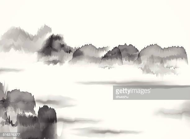 Abstrait noir et blanc de peinture chinoise de contenu arrière