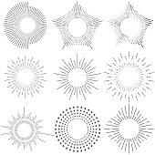 Abstract black and white sun. Flat design, vector illustration, vector.
