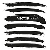 Abstract black vector brush strokes isolated on a white background