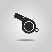 Abstract blowing whistle icon with dropped shadow on gray gradient background