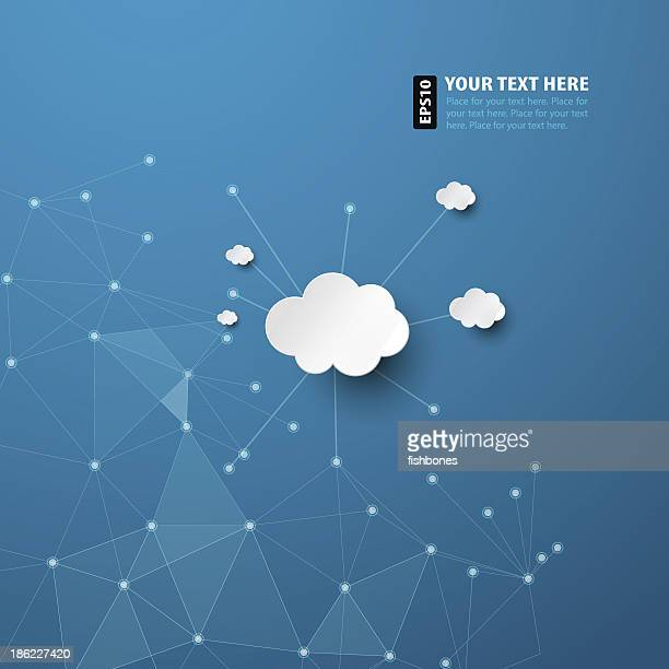 Abstract blue background with white clouds