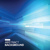 Abstract blue geometric background. 3D perspective background