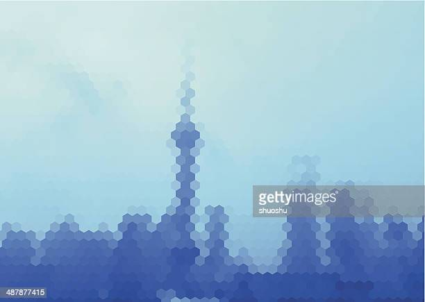 abstract blue hexagon mosaic style Shanghai skyline pattern background