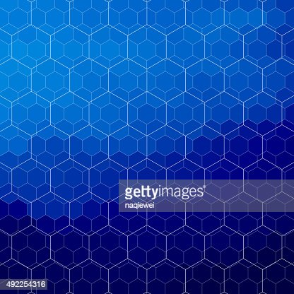 Abstract Blue Hexagon Pattern Background Vector Art ...