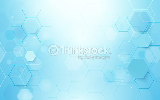 Abstract blue hexagons shape and lines with science concept background : stock vector