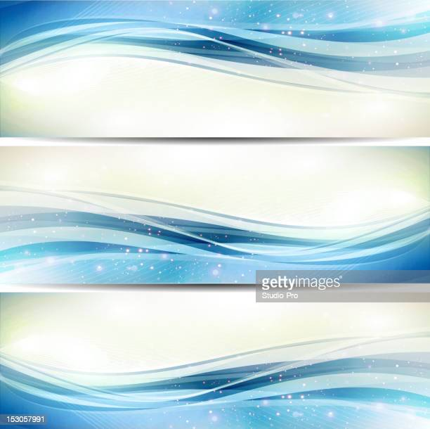 Abstract blue shiny wave banners