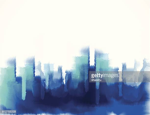 abstract blue watercolor style city building pattern background
