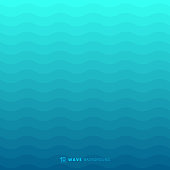 Abstract blue waves lines underwater background and texture. Wavy stripes pattern. Rough surface. Vector illustration
