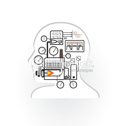 Abstract Brain Human With Simple Boiler System Vector Art | Thinkstock