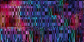 Abstract bright background of many elements. Glitch effect. Color transitions.
