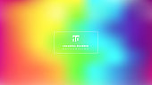Abstract bright rainbow color smooth blurred gradient mesh background. Colorful banner template. Vector illustration