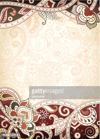 Abstract Brown Floral Frame : Vector Art
