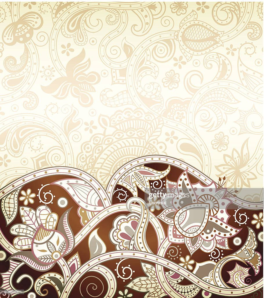 Abstract Brown Floral : Vector Art