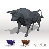 Abstract bull polygonal. Vector illustration.