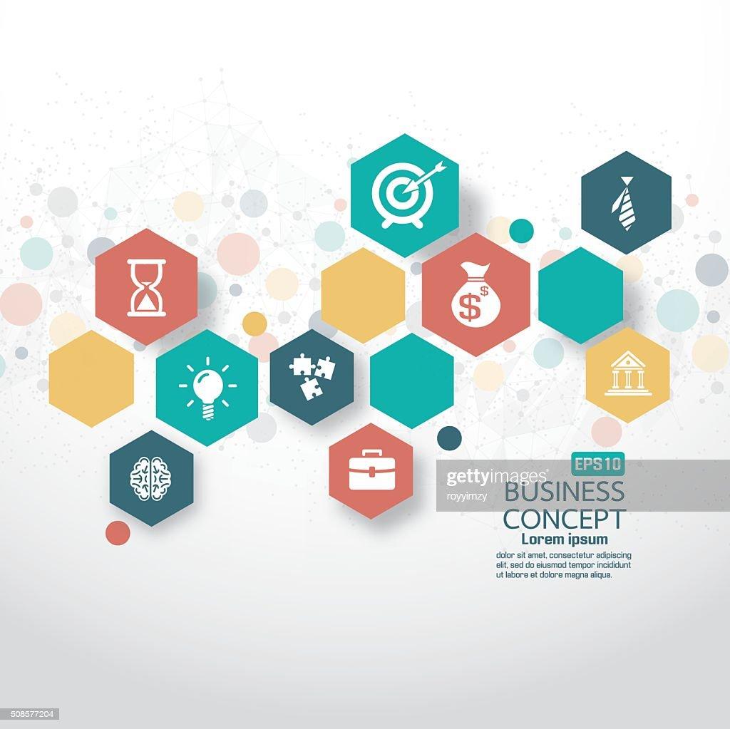 Abstrakt Geschäft Hintergrund flache Symbole : Vektorgrafik