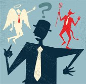 Vector illustration of Retro styled Abstract Businessman caught up in a Catch-22 battle of wills with both a devil and an angel helping him to decide. Hi-res Jpeg, PNG and PDF files included.