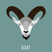 Abstract cartoon goat portrait.  Simple goat head for use in design for card, book, album, sketch book, placard, banner, page.  Nature, animals and wildlife theme.