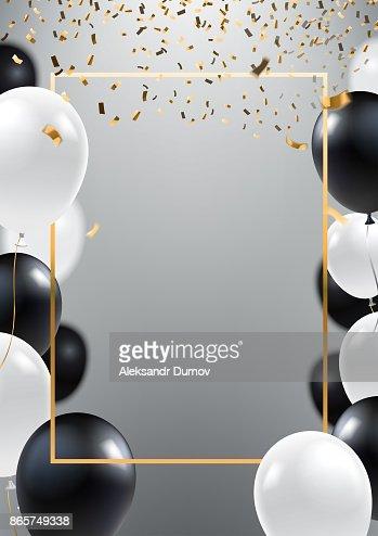 Fondo abstracto de plata ceremonial con globos blanco y negro. Marco de oro y cae confeti dorado. A4 diseño para invitación de gran apertura, venta banner, flyer de la fiesta. Vectoriales eps 10. : Arte vectorial