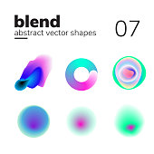 Vector element with nice blend color transition. Abstract chaotic shape, form for your design