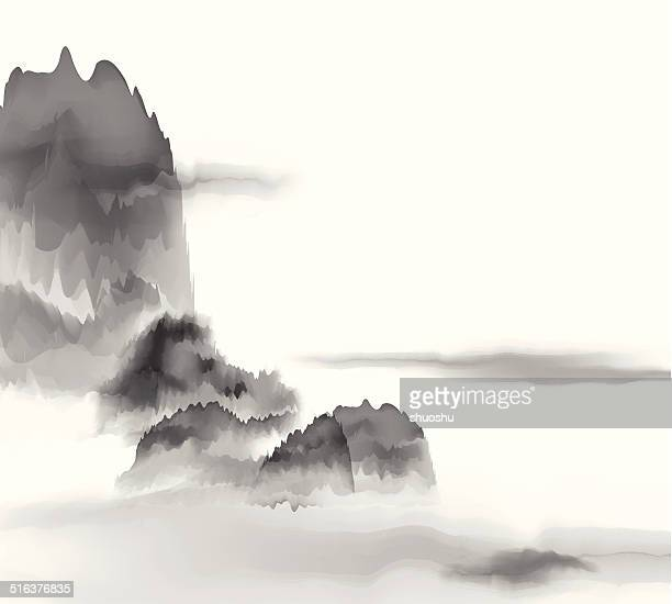 abstract Chinese painting mountain material background