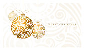 Vector Christmas greeting card with abstract swirl Christmas balls.