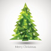 Abstract christmas tree made of green triangles. Christmas tree greeting card background