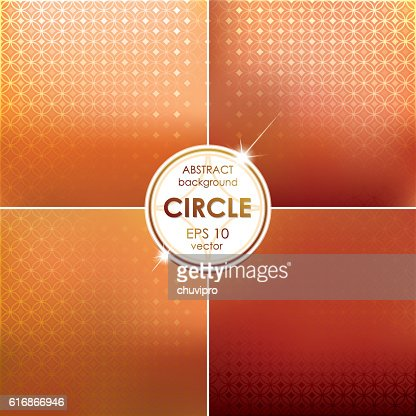 Abstract Circle shaped backgrounds set Orange-Red Palette : Vector Art